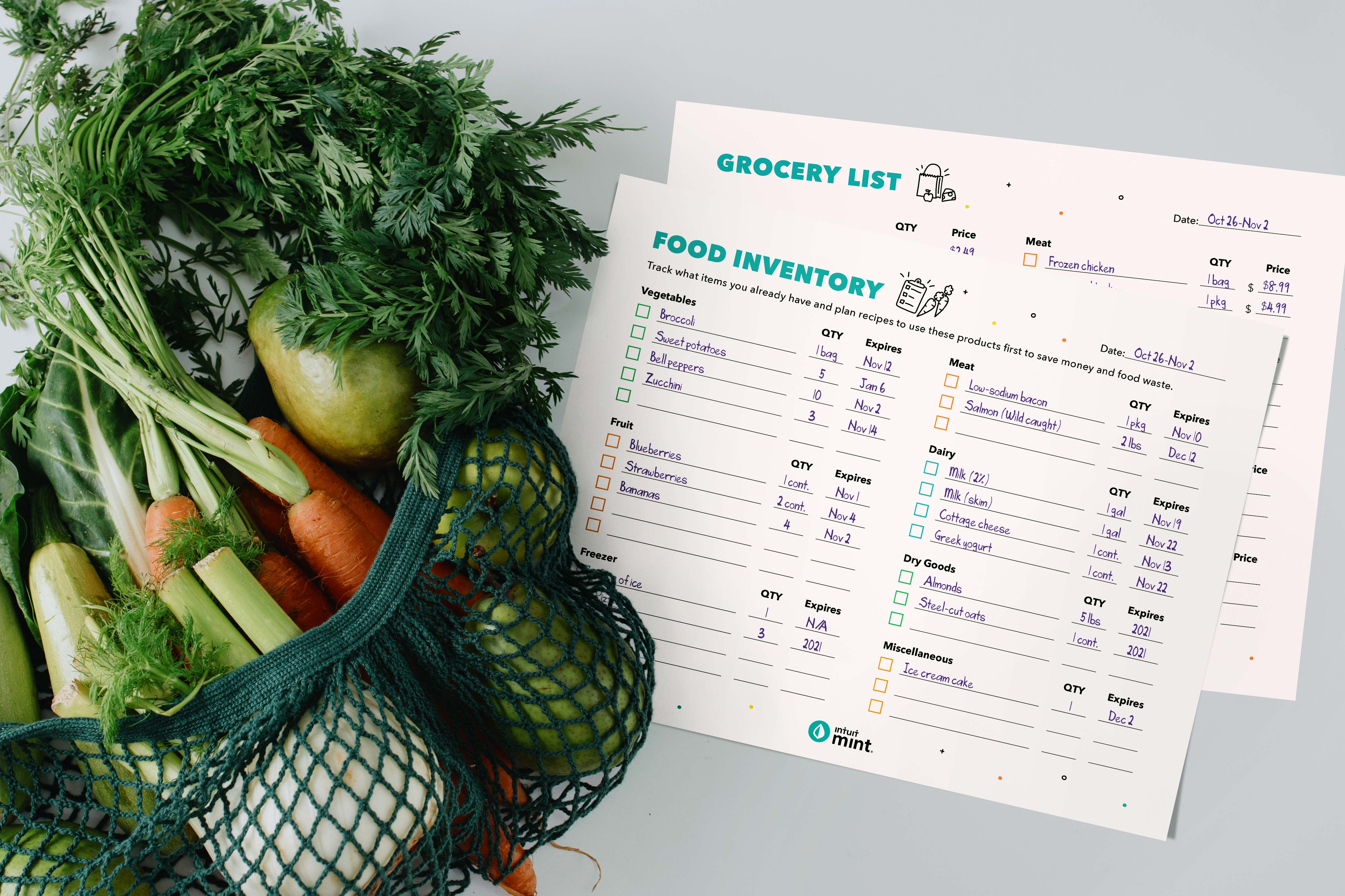 Mockup of grocery list and food inventory printables with fresh produce