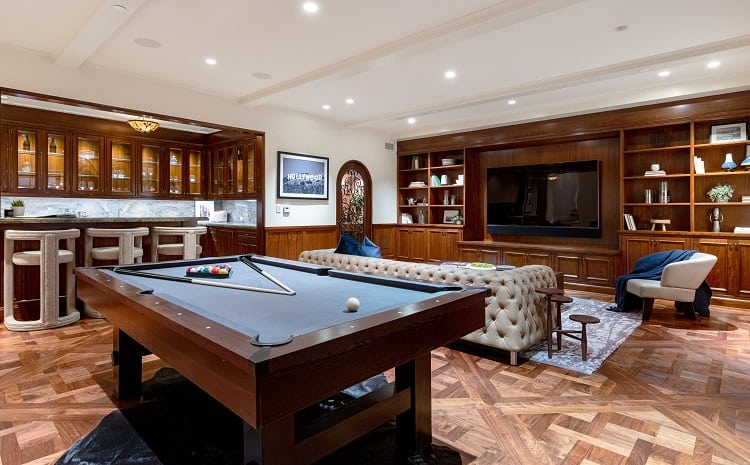 Entertainment room of an ua-luxurious villa on N. Roxbury Drive.
