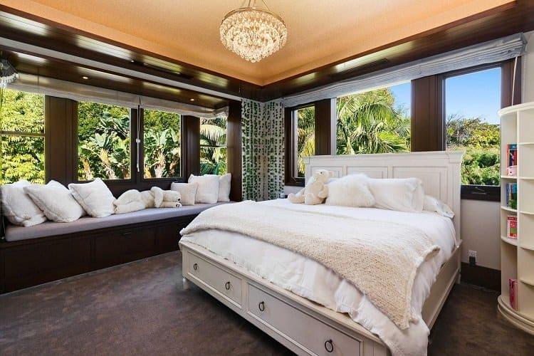 beautiful bedroom in matt damon's house in Los Angeles
